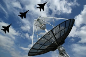 Radar with F16 flying over