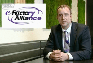 E-factory aliance logo and a guy in suit