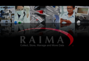 Raima logo with industry pictures in background
