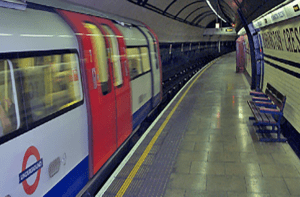 Tube station with train